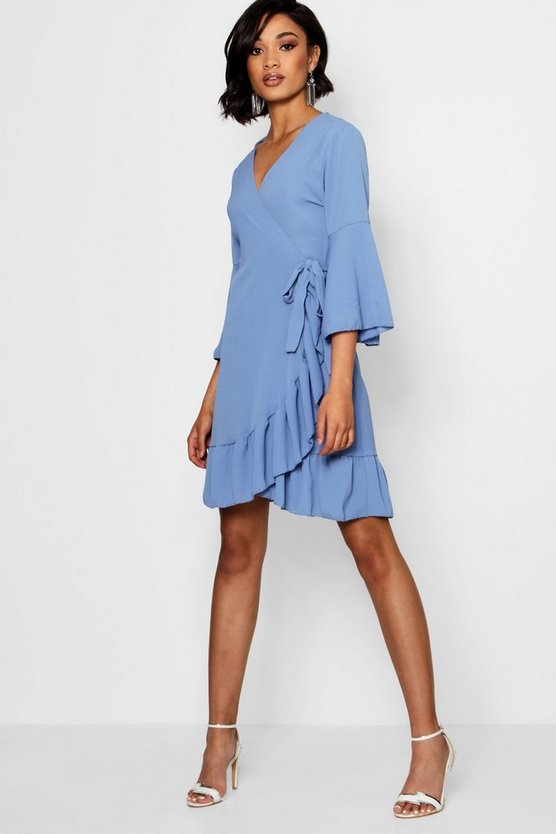 Wrap Ruffle Tea Dress