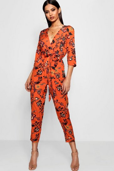 Womens Orange Floral Wrap Front Jumpsuit