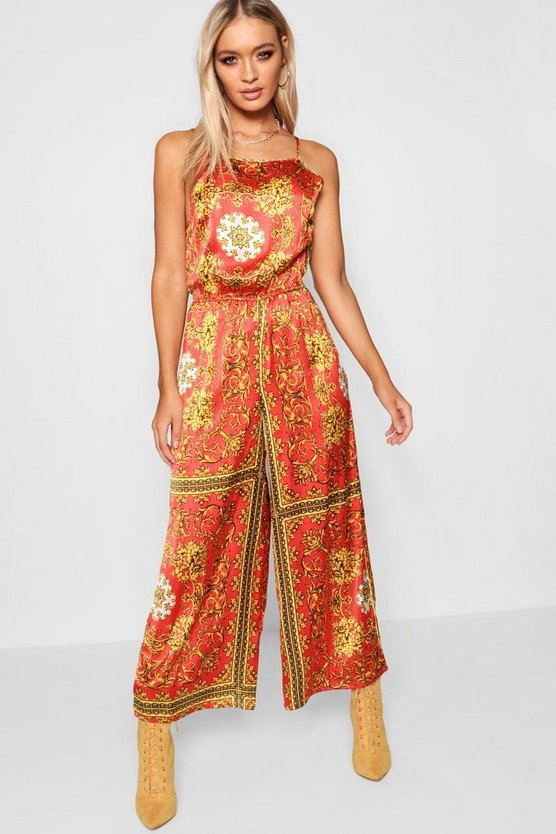 Womens Red Chain Print Culotte Jumpsuit