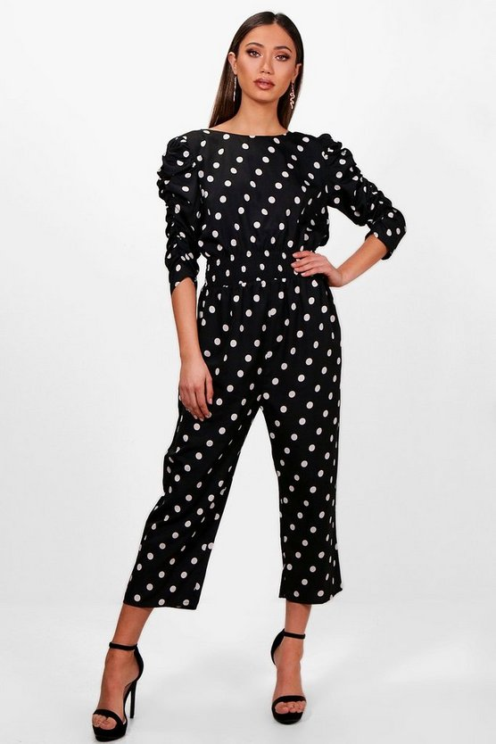 Polka Dot Ruched Sleeve Culotte Jumpsuit