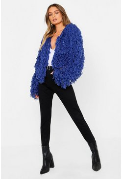 Womens Denim Cropped Shaggy Knit Cardigan