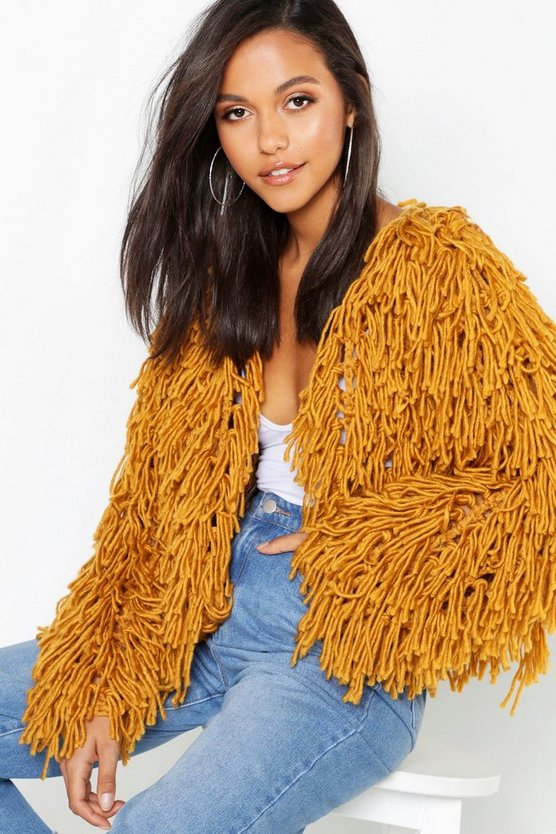 Womens Mustard Cropped Shaggy Knit Cardigan