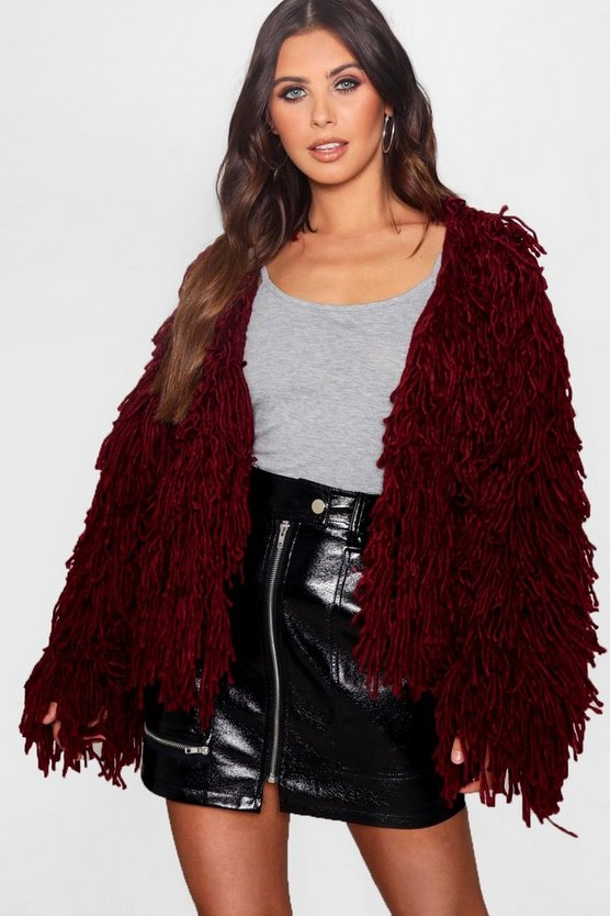 Cropped Shaggy Knit Cardigan