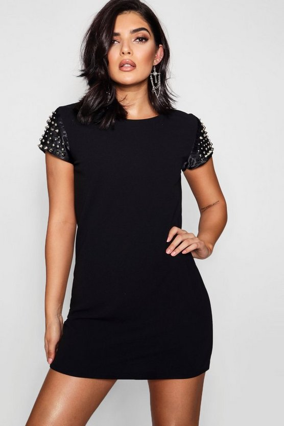 Studded Sleeve Dress