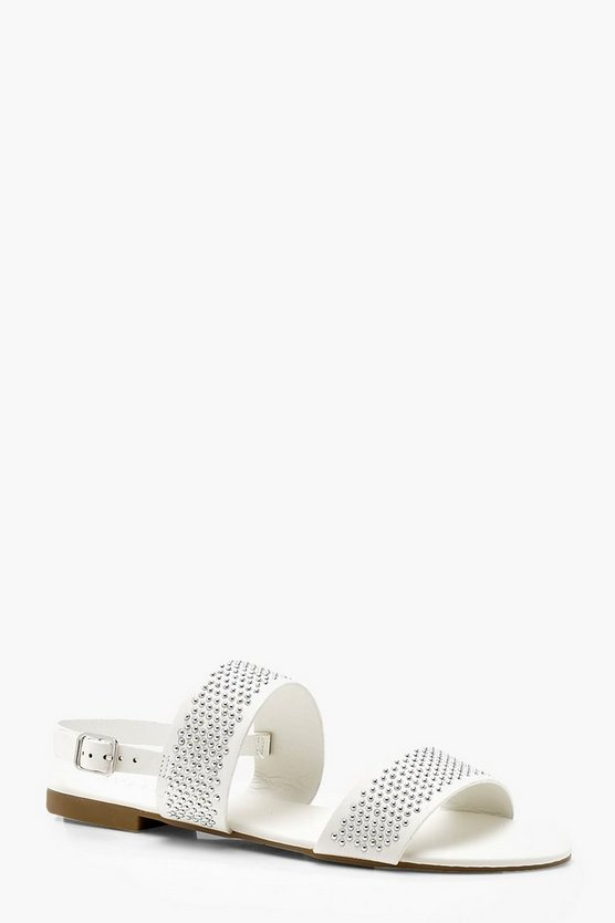 Wide Fit Pin Stud Double Strap Sandals
