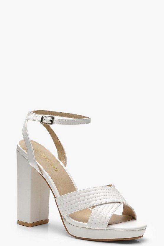 Womens White Cross Strap Platform Heels