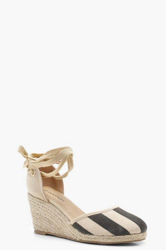 Wide Fit Stripe Tie Up Espadrille Wedges