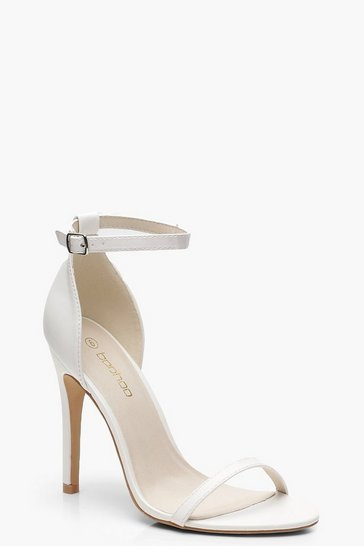 Womens White 2 Part Heels