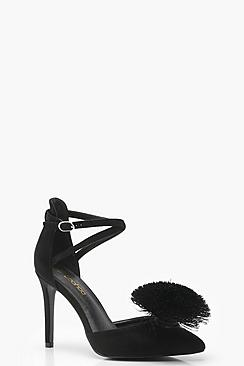 Pom Trim Pointed Court Shoes