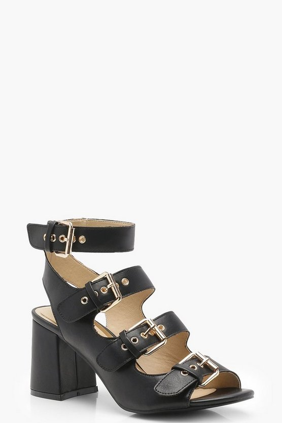 Buckle Strap Flared Heels