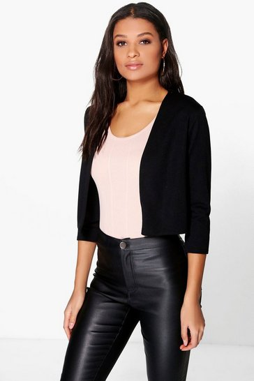 Womens Black Crop Ponte Edge To Edge Blazer