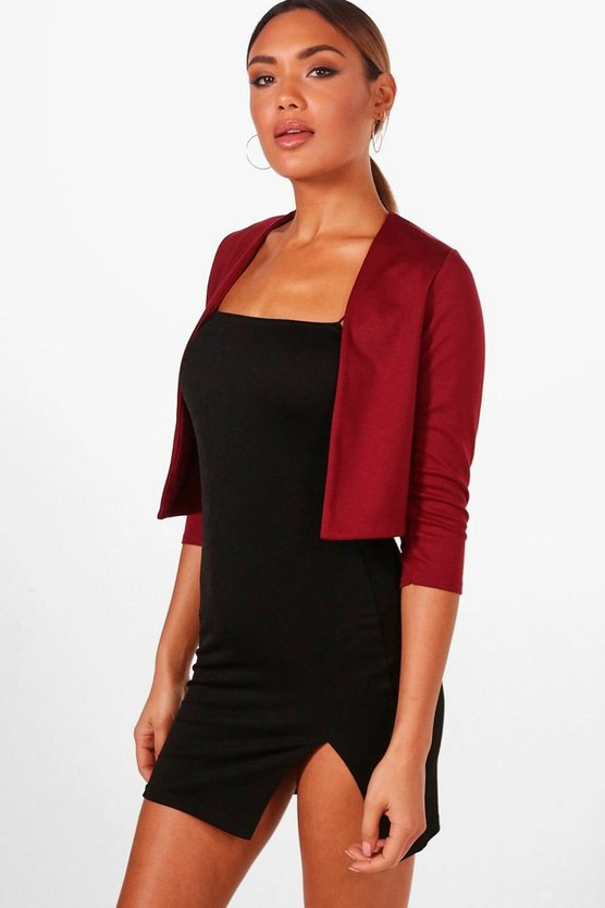 Crop Ponte Edge To Edge Blazer