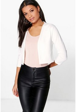 Womens Ivory Crop Ponte Edge To Edge Blazer