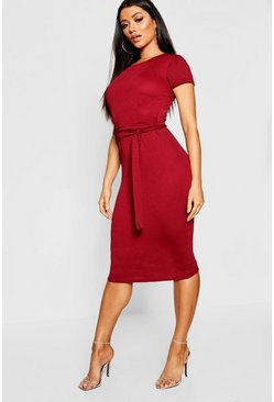 Berry Pleat Front Belted Tailored Midi Dress