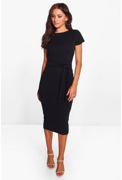 Black Pleat Front Belted Tailored Midi Dress