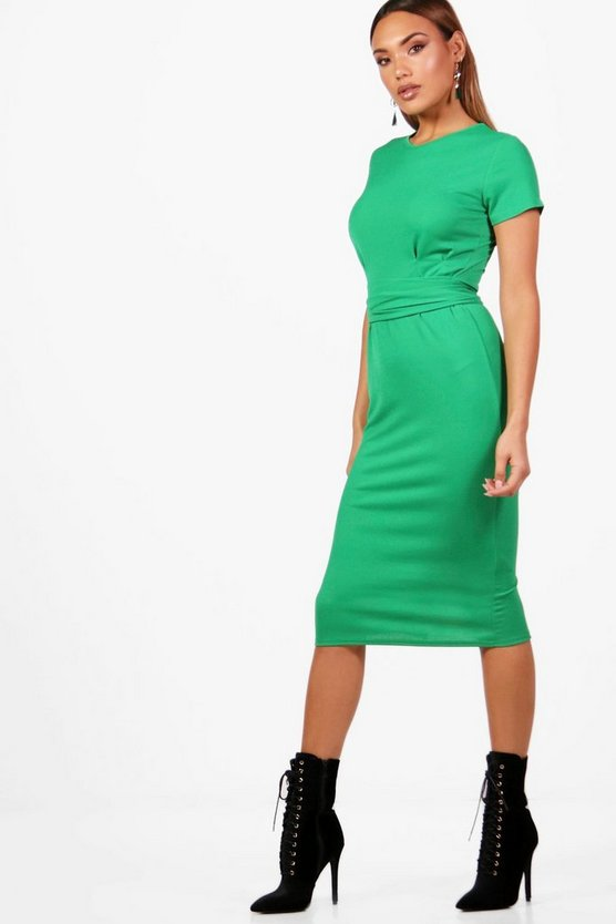 Womens Bottle Pleat Front Belted Tailored Midi Dress