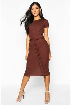 Chocolate Pleat Front Belted Tailored Midi Dress