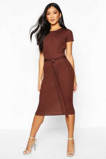 Womens Chocolate Pleat Front Belted Tailored Midi Dress