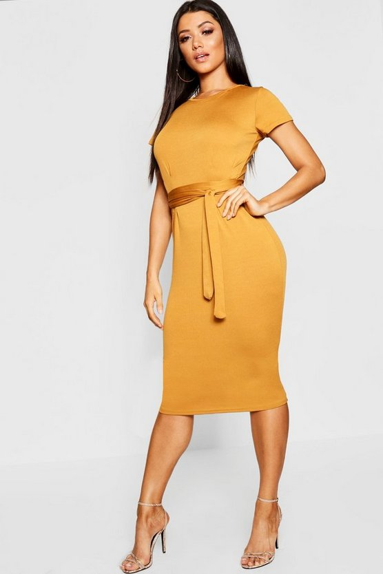 Womens Rust Pleat Front Belted Tailored Midi Dress
