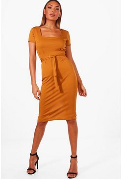 Womens Mustard Square Neck Pleat Front Dress