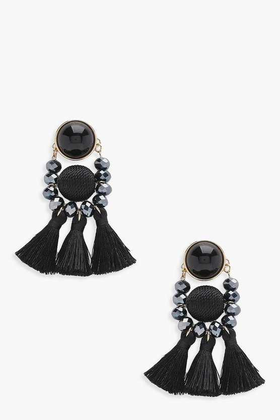Womens Black Bead and Tassel Statement Earring