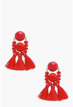 Womens Red Bead and Tassel Statement Earring