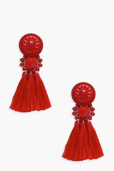 Womens Red Floral Tassel Bead Statement Earrings