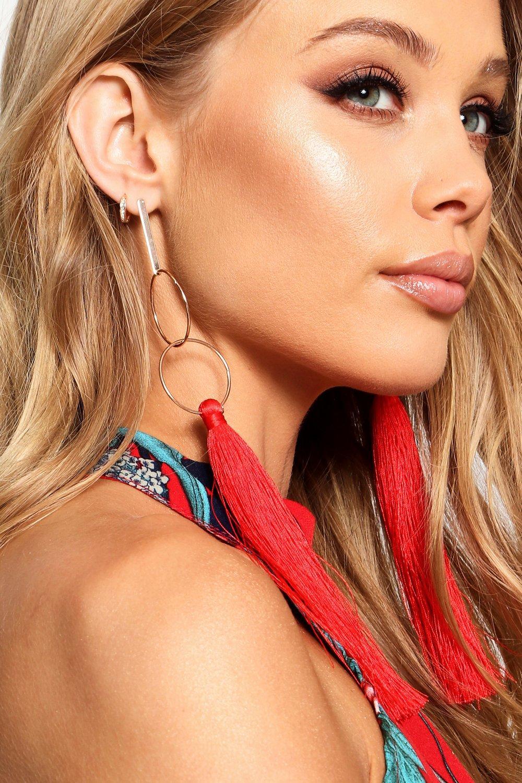 Leah Bar and Long Tassel Earrings