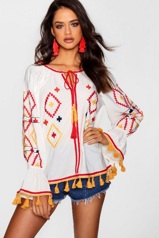 Tall Embroidered Woven Smock Top