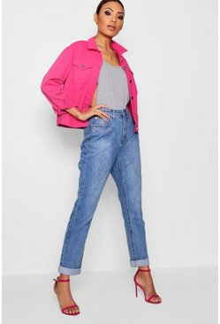 Womens Light blue High Rise Hem Detail Mom Jeans