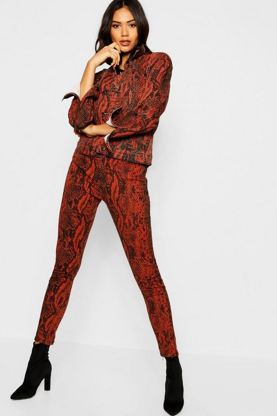 Womens Red Snake Print Skinny Jeans
