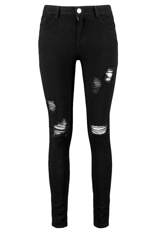 medio Dani de negro skinny jeans talle desgastados n7RwxqCv1U