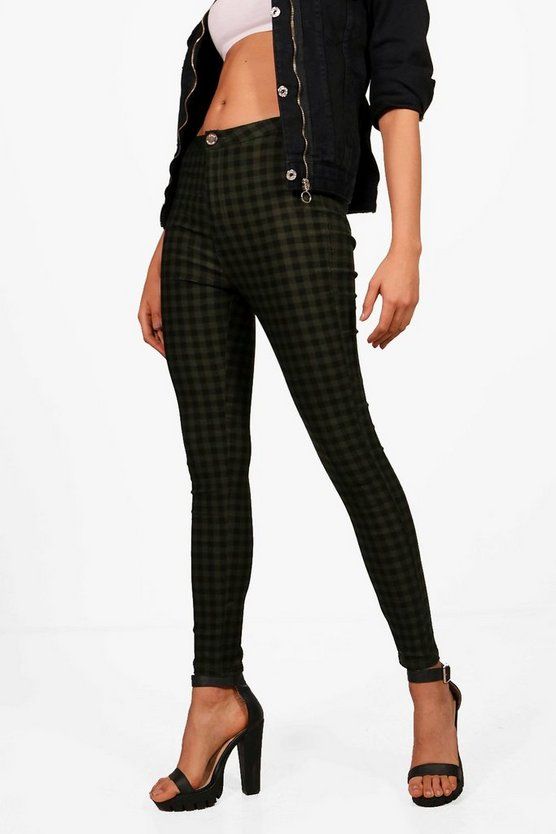 Lara High Rise Gingham Tube Jeans