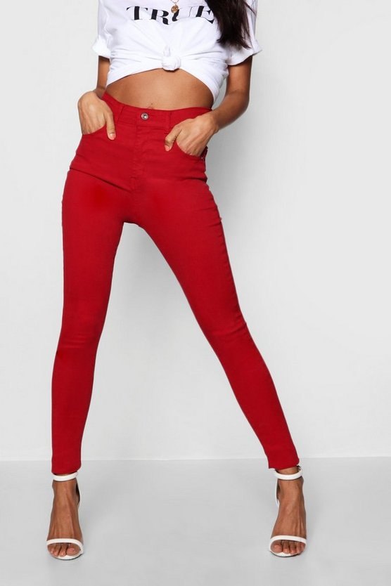 Womens Red Mid Rise Destroyed Hem Skinny Jeans