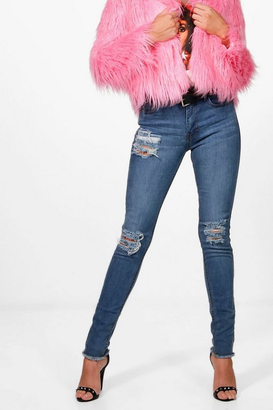 Maria Mid Rise Distressed Thigh Skinny Jeans