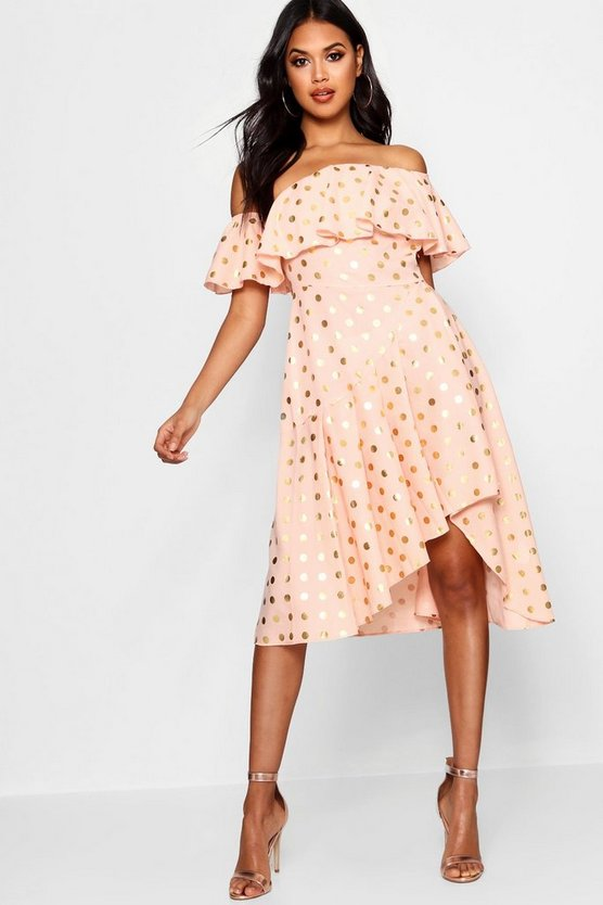 Boutique Rose Metallic Polka Dot Skater Dress