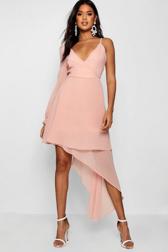 Boutique Chiffon Asymmetric Wrap Dress