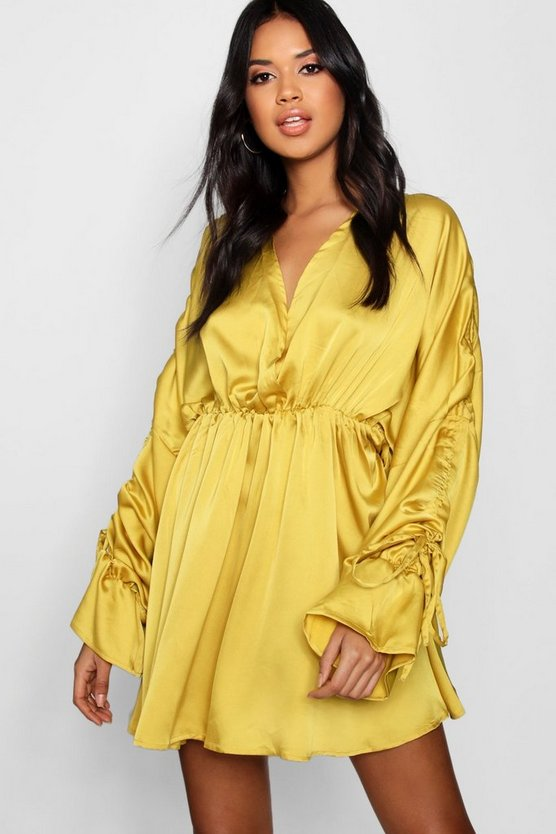 Boutique Satin Ruched Sleeve Skater Dress