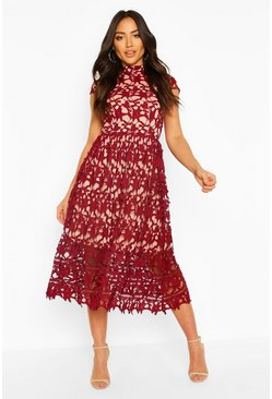 Berry Boutique Lace High Neck Skater Dress