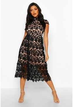 Womens Black Boutique Lace High Neck Skater Dress