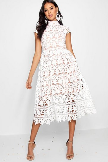 Womens Ivory Boutique Lace High Neck Skater Dress