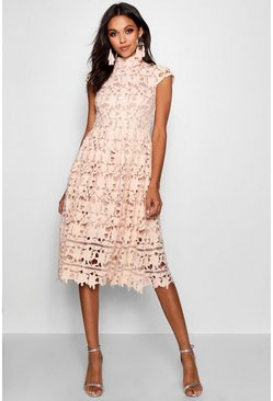 Womens Nude Boutique  Lace High Neck Skater Dress