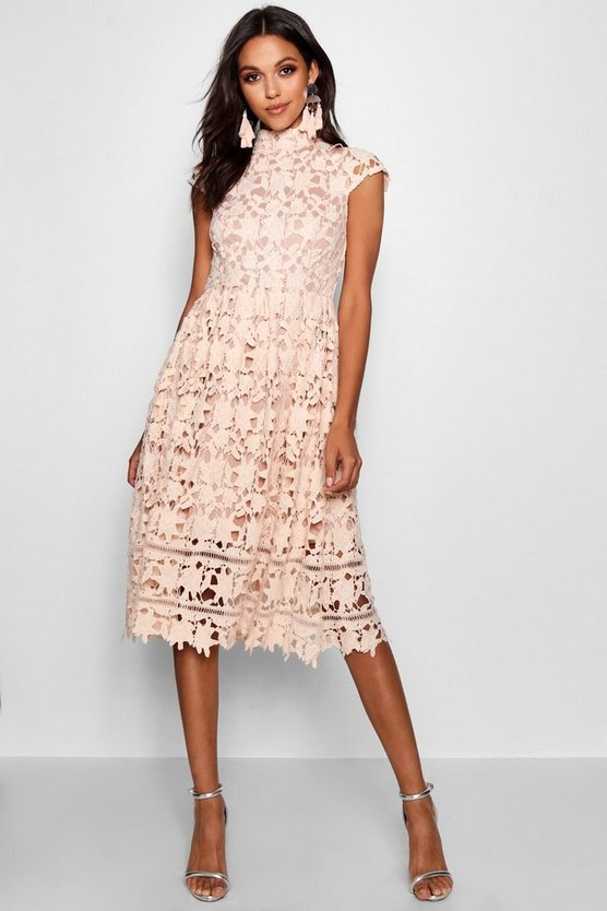 Boutique  Lace High Neck Skater Dress