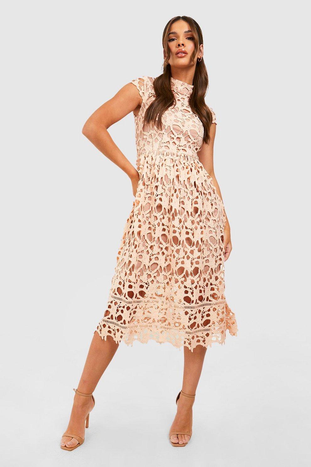 78721cc5135 Boutique Lace High Neck Skater Dress | Boohoo