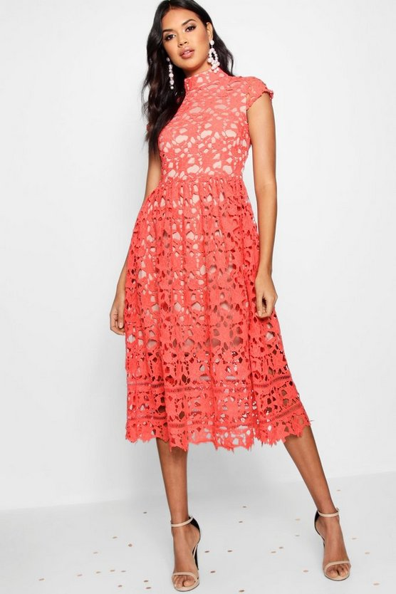 Womens Red Boutique Lace High Neck Skater Dress