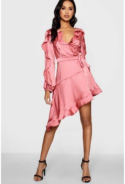 Womens Rose Boutique Satin Ruffle Asymmetric Dress