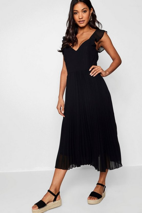 Boutique Ruffle Pleated Midi Skater Dress