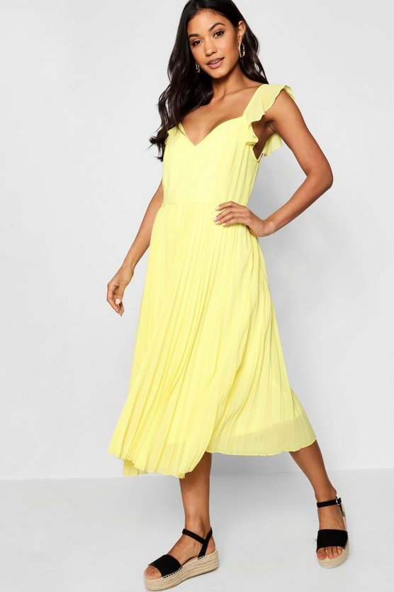 Womens Lemon Boutique Ruffle Pleated Midi Skater Dress