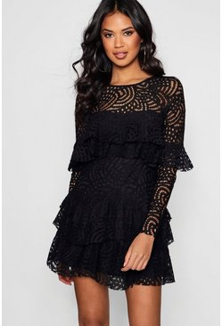 Womens Black Boutique  Lace Ruffle Skater Dress