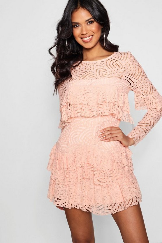 Boutique  Lace Ruffle Skater Dress